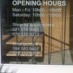 OPENING TIMES - Vinyl applied to glass