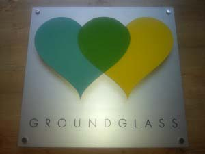 Groundglass - Brushed aluminium backing with cut out logo