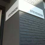 STEVENSON - 5mm powder-coated aluminium bent panel with aluminium lettering