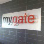 Mygate - Sprayed Aluminium letters on Brushed backing