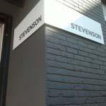 STEVENSON - 5mm powder-coated aluminium bent panel with aluminium lettering