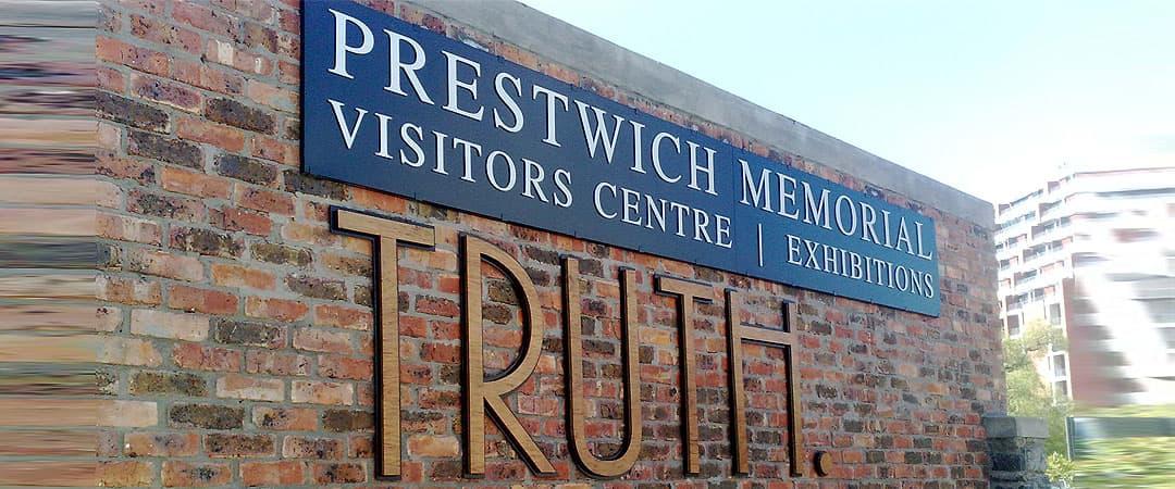 Prestwich memorila visitors center sign